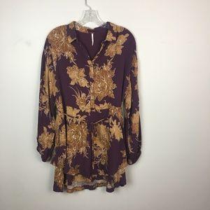 Free People boho dress floral purple mustard XS